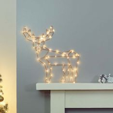60cm Battery Operated Reindeer Silhouette, Warm White LEDs