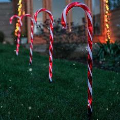 Outdoor Red & White Multi Function Candy Cane Christmas Stake Lights, 4 Pack