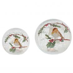 Battery Tabletop Crackle Effect Robin Ball, 2 Pack