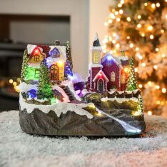 24cm Battery & USB Musical Village Scene With Spinning Tree
