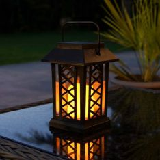 Solar Flickering LED Candle Lantern, 17.5cm